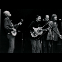 Pete Seeger, Bernardo Palombo, Dave Soldier, and Dorothy Potter performing for the surviving members of the Abraham Lincoln Brigade, Borough Manhattan Community College, 1996. We're playing songs from the Spanish Civil War.