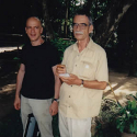 Dave Soldier and Richard Lair in Lampang, Thailand, cofounders Thai Elephant Orchestra