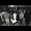 Dave Soldier, Kurt Vonnegut, Richard Auldon Clark with the Manhattan Chamber Orchestra 1995, recording Ice-9 Ballads: far right next to Kurt is Jimmy Justice